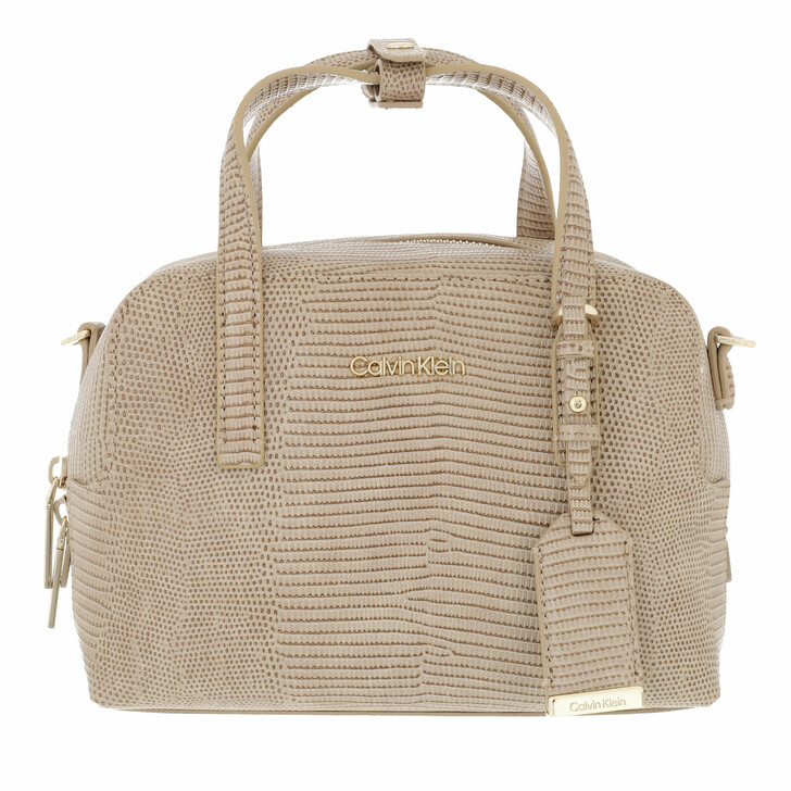 bags, Calvin Klein, CK Must Bowling Bag Small Lizard Taupe