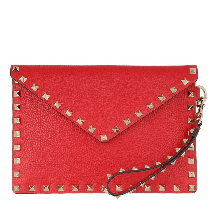 Handtasche, Valentino Garavani, Rockstud Clutch Medium Leather Red