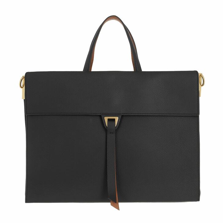 bags, Coccinelle, Louise Handbag Double Grainy Leather Noir/Caramel