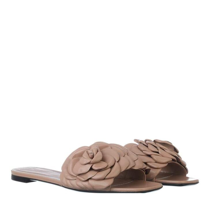 shoes, Valentino Garavani, Rose Slide Sandal Leather Rose Cannelle