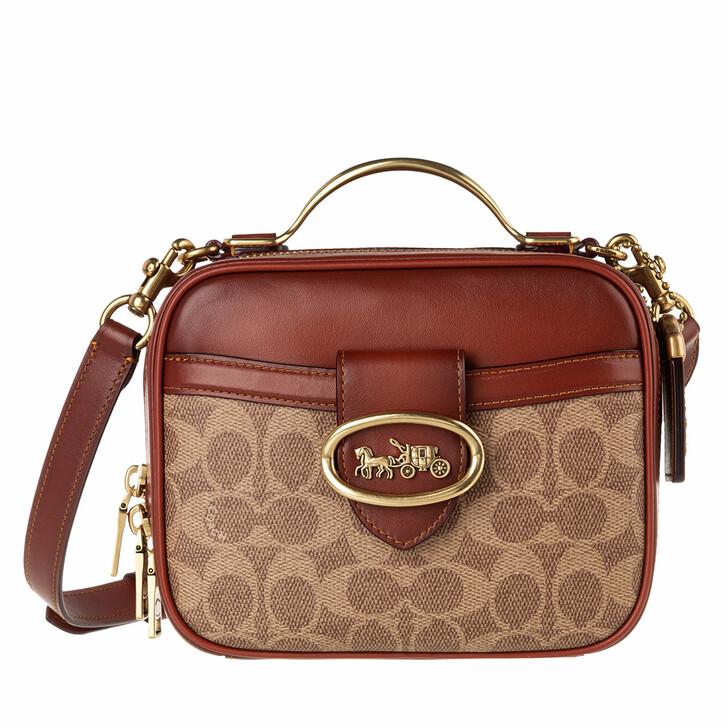 Handtasche, Coach, Coated Canvas Signature Riley Lunchbox Bag Tan Rust