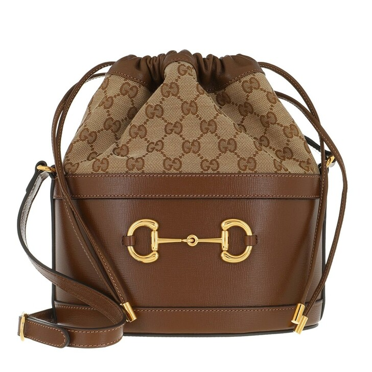 Handtasche, Gucci, Horsebit 1955 Bucket Bag GG Canvas Brown