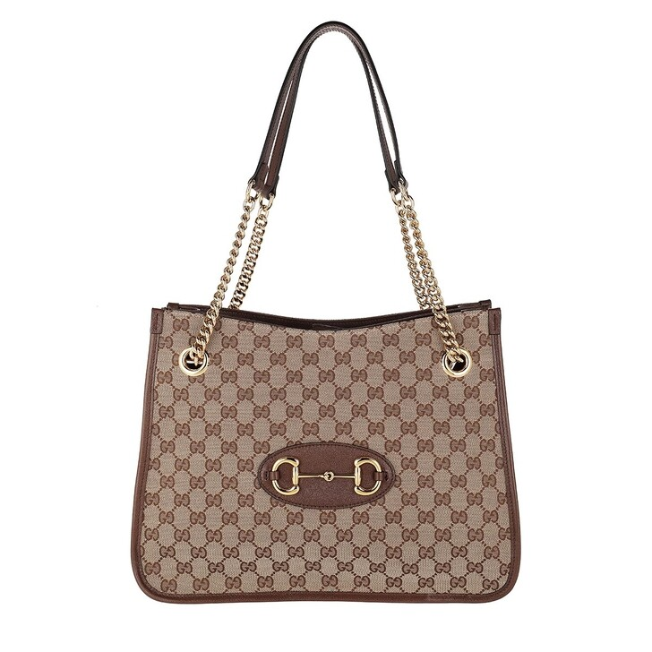 Handtasche, Gucci, Medium Horsebit Shopping Bag Leather Beige Ebony