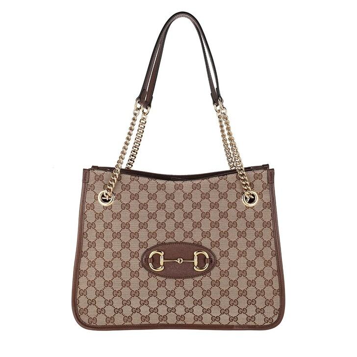 bags, Gucci, Medium Horsebit Shopping Bag Leather Beige Ebony