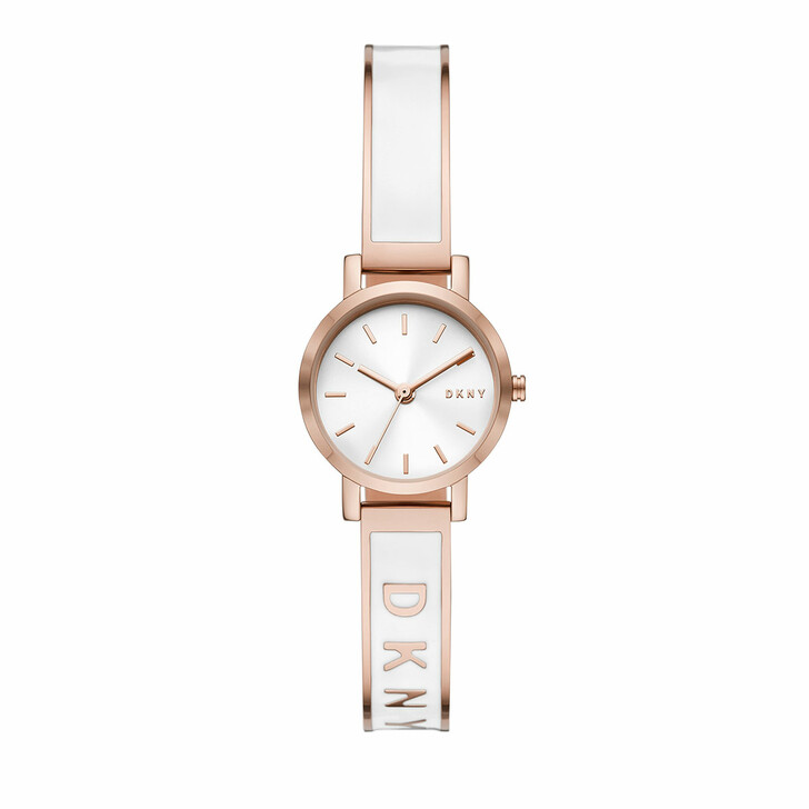 Uhr, DKNY, Soho Three-Hand Stainless Steel Watch White/Rosegold