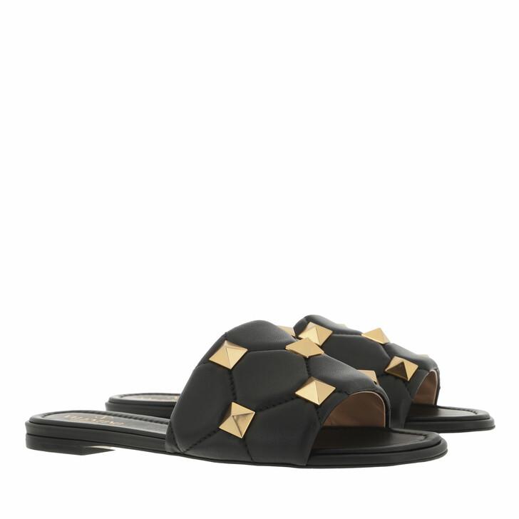 shoes, Valentino Garavani, Roman Stud Slide Mule Leather Black