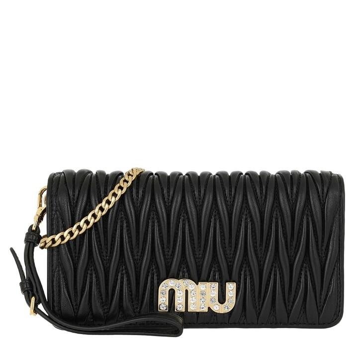 Handtasche, Miu Miu, Matelassé Wallet On Chain Black