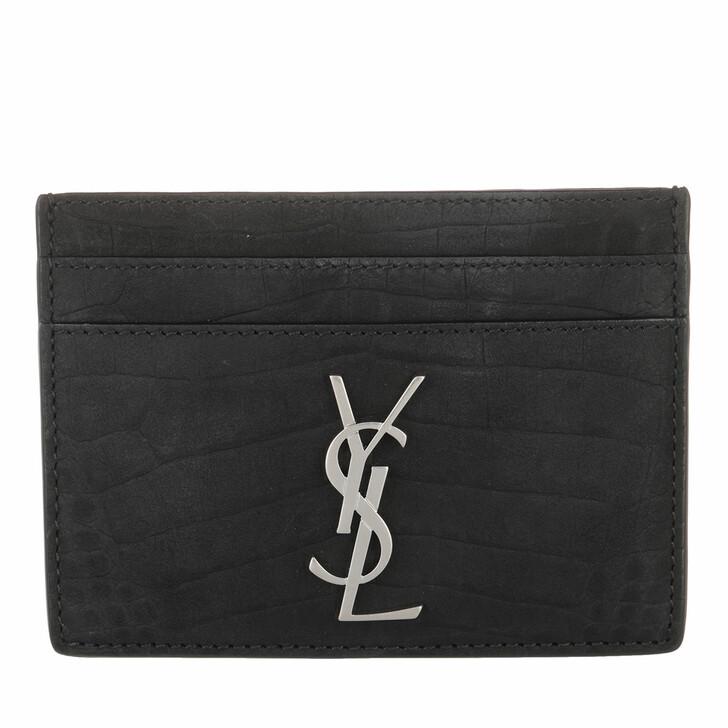 wallets, Saint Laurent, Card Case Crocodile Embossed Leather Black