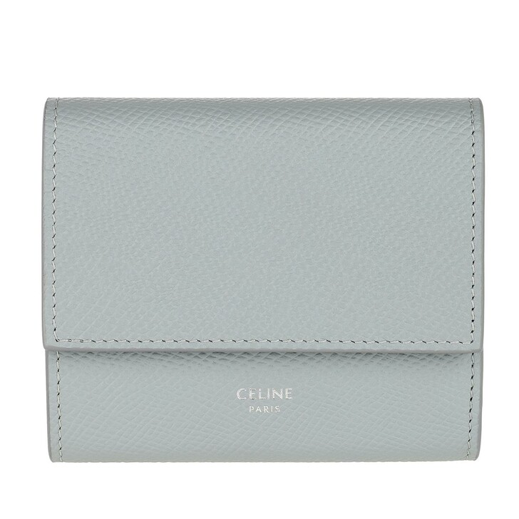 Geldbörse, Celine, Trifold Wallet Small Leather Mineral Blue