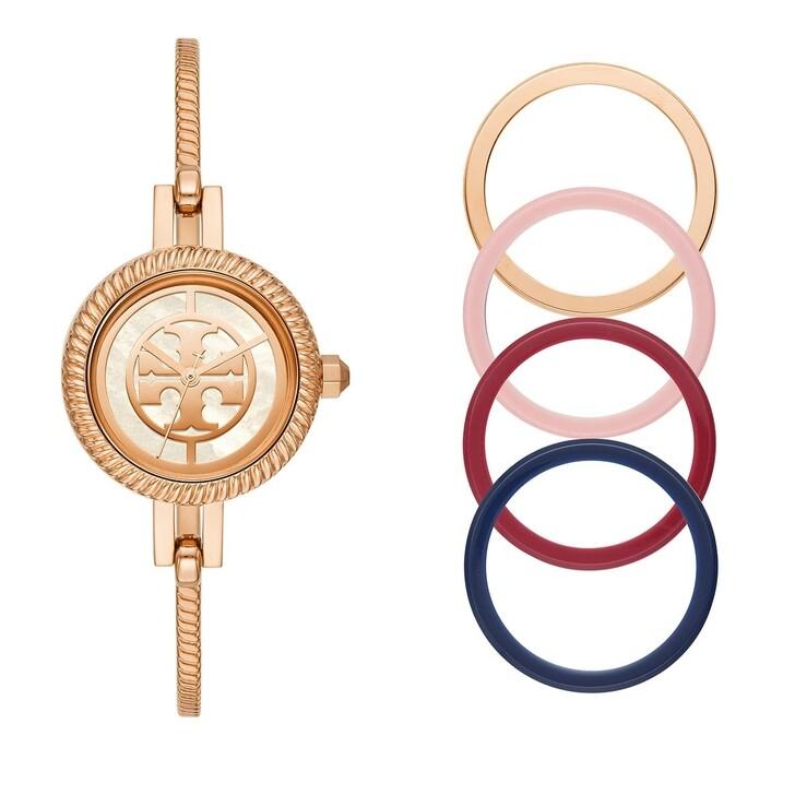 watches, Tory Burch, Reva Three-Hand Stainless Steel Bangle Gift Set Rose Gold-Tone