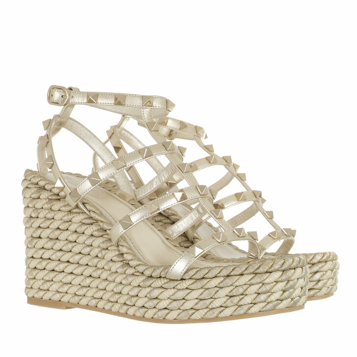 Schuh, Valentino Garavani, Rockstud Sandal Gold