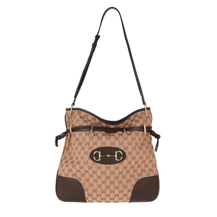 Handtasche, Gucci, Horsebit Shoulder Bag Beige Rust
