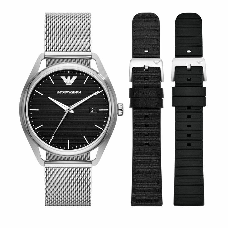 watches, Emporio Armani, Men's Three-Hand Date Stainless Steel Watch AR8005 Multicolored