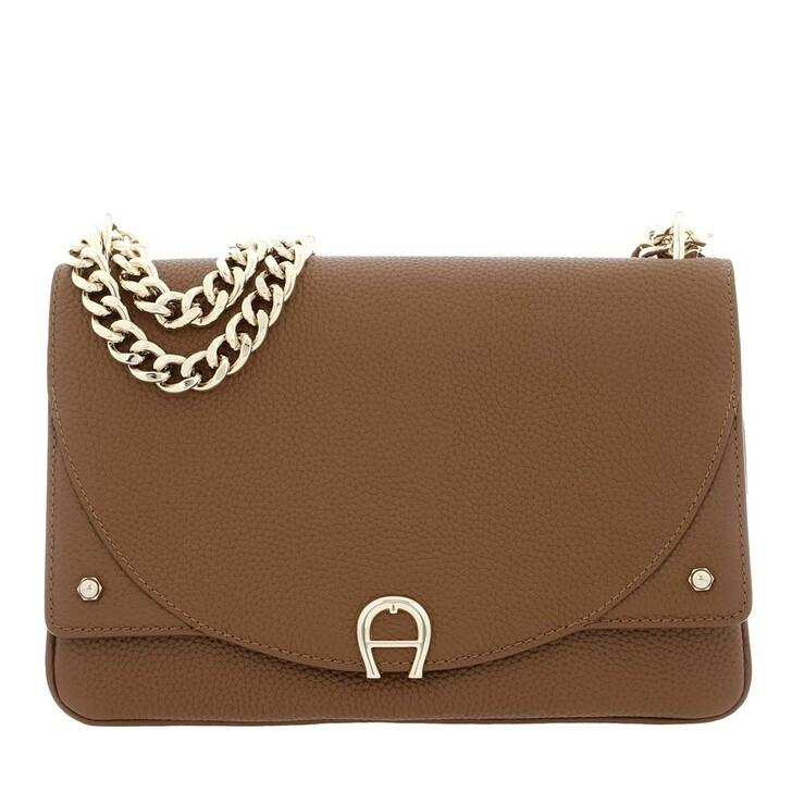 Handtasche, AIGNER, Diadora S Crossbody Bag Dark Toffee Brown