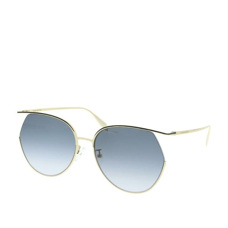 Sonnenbrille, Alexander McQueen, AM0255S-001 61 Sunglasses Gold-Gold-Grey