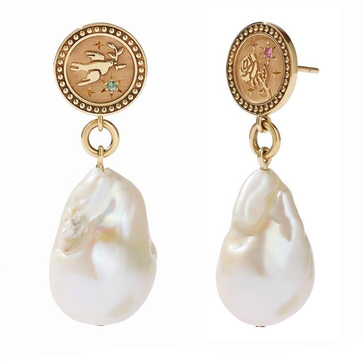 Ohrring, Meadowlark, Amulet Pearl Drop Earrings Peace & Love Yellow Gold
