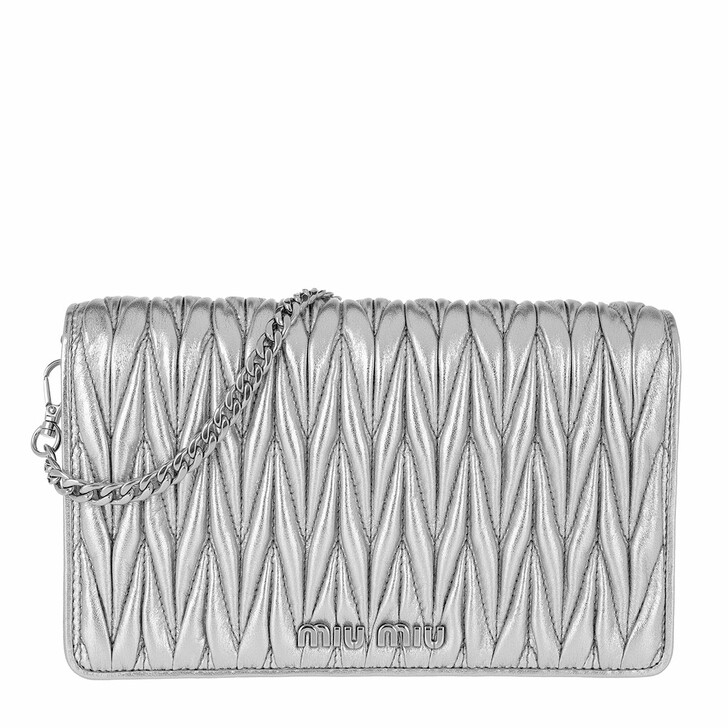 Handtasche, Miu Miu, Borsa Portafoglio Matelassé Crossbody Leather Cromo