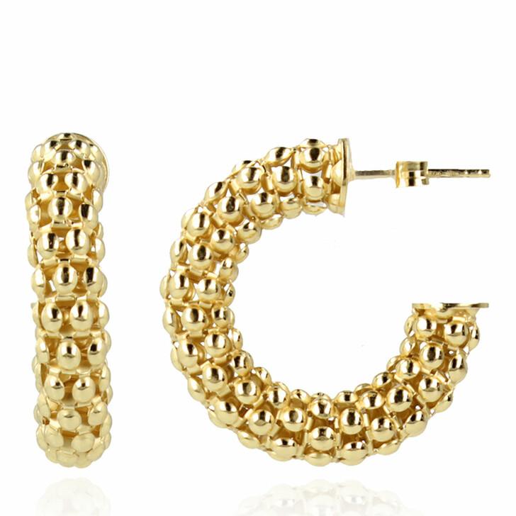 earrings, LOTT.gioielli, Classic Earring Popcorn Creole Small Gold