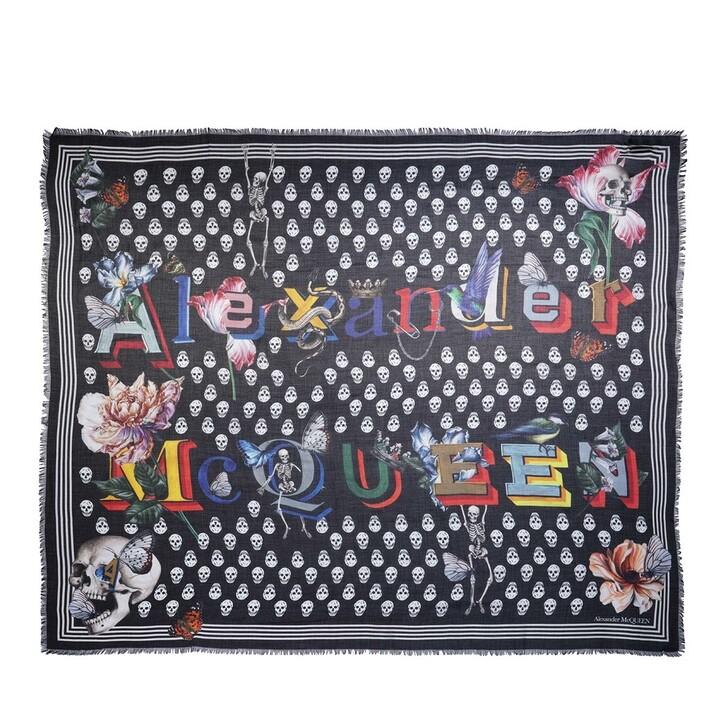 scarves, Alexander McQueen, Biker Shawl Black/Ivory