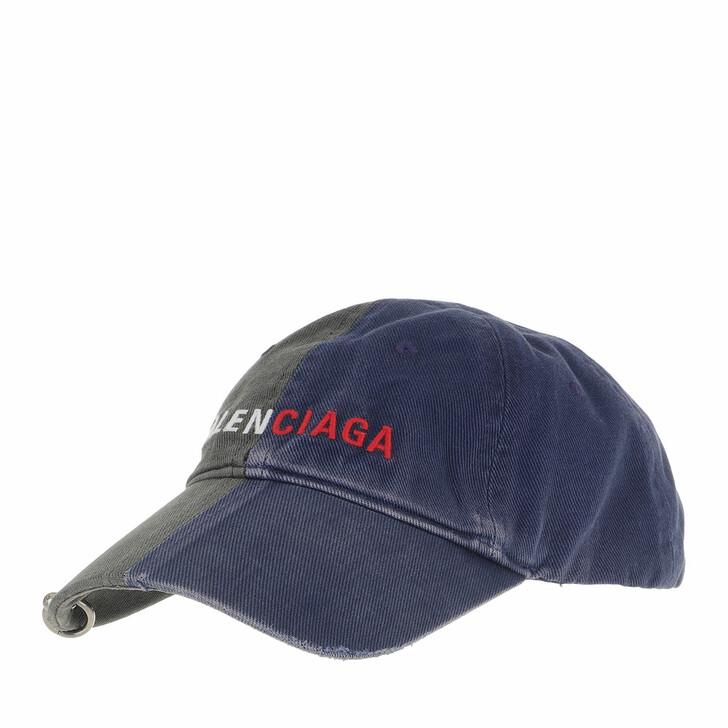 hats, Balenciaga, 50/50 Baseball Logo Cap Black/Blue