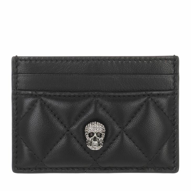 wallets, Alexander McQueen, Pave Skull Card Holder Black White