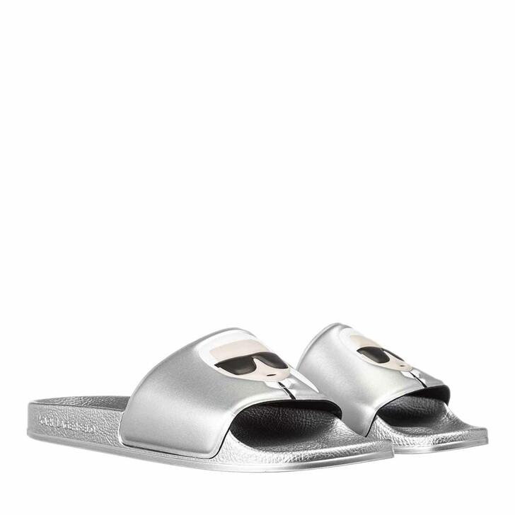 Schuh, Karl Lagerfeld, KONDO II Ikonic Slide Silver Rubber