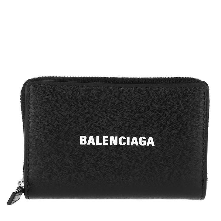 Geldbörse, Balenciaga, Zip Around Wallet Leather Black/White