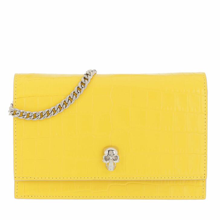 bags, Alexander McQueen, Skull Mini Crossbody Bag Leather Pop Yellow