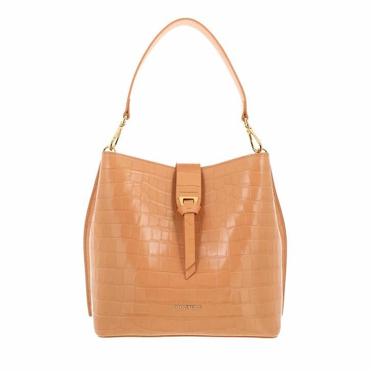 bags, Coccinelle, Alba Croco Shiny Soft Handbag Almond