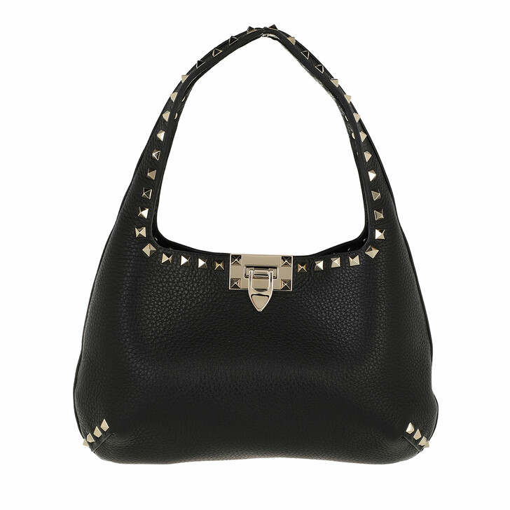 bags, Valentino Garavani, Small Rockstud Hobo Bag Leather Black