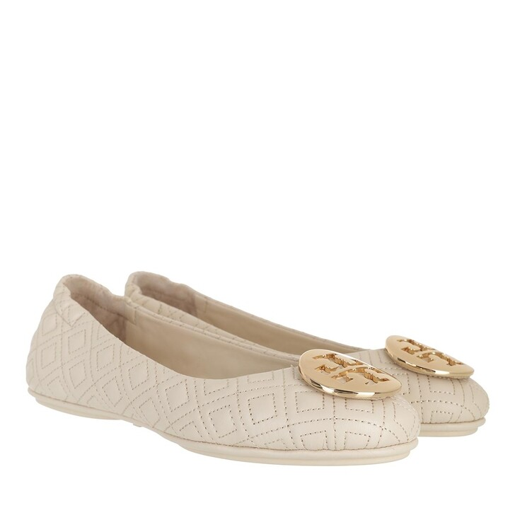 Schuh, Tory Burch, Quilted Minnie With Metal Logo New Cream / Gold