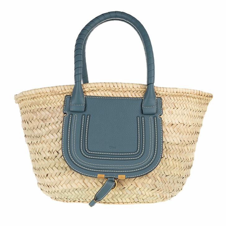 Handtasche, Chloé, Marcie Carryall Basket Bag Calfskin Mirage Blue