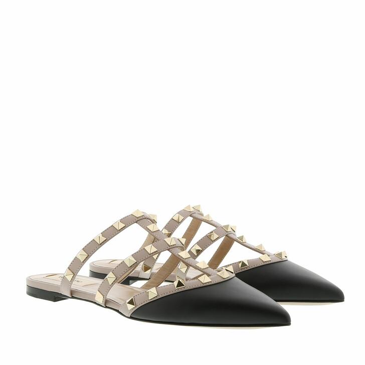 shoes, Valentino Garavani, Rockstud Flat Leather Mules Black/Poudre