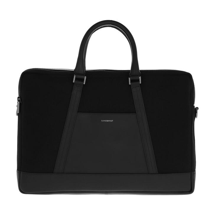 Handtasche, Sandqvist, Melker Twill Briefcase Black Twill
