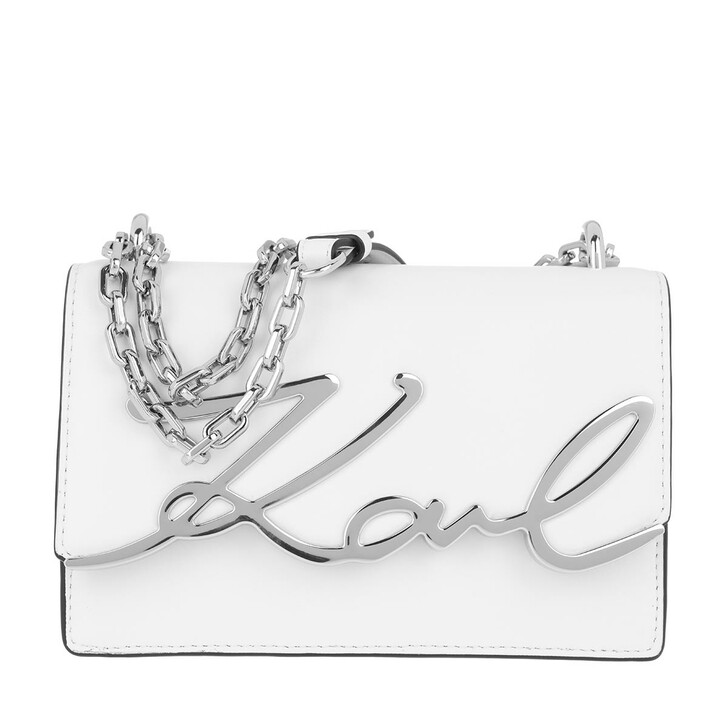 Handtasche, Karl Lagerfeld, Signature all Shoulderbag White