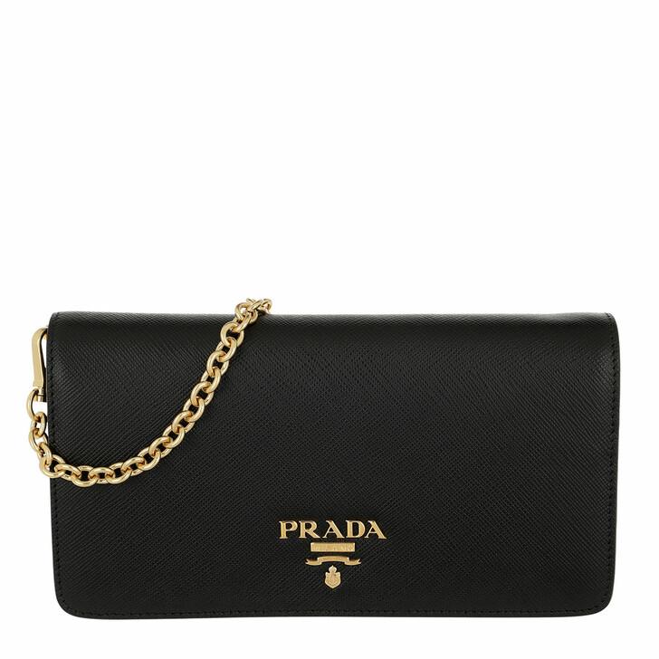 bags, Prada, Logo Wallet On Chain Saffiano Leather Black