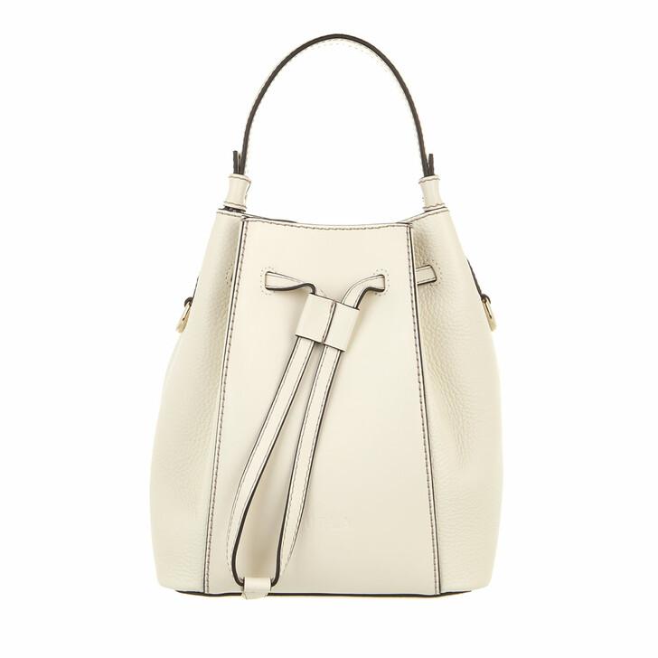 bags, Furla, Furla Miastella Mini Bucket Bag White Cotton