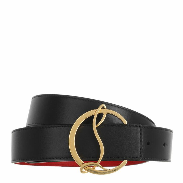 Gürtel, Christian Louboutin, CL Logo Belt Leather Black/Antic Gold