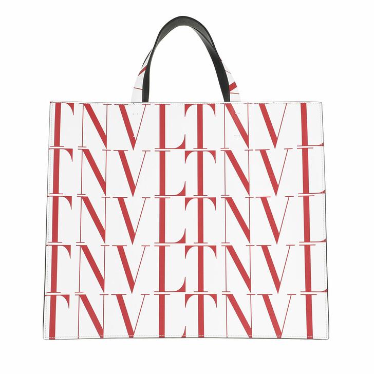 bags, Valentino Garavani, VLTN Logo Tote Bag White/Red