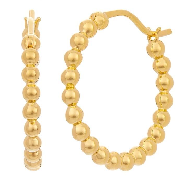 earrings, BELORO, Plated Sterling Silver Earrings Creole Yellow Gold
