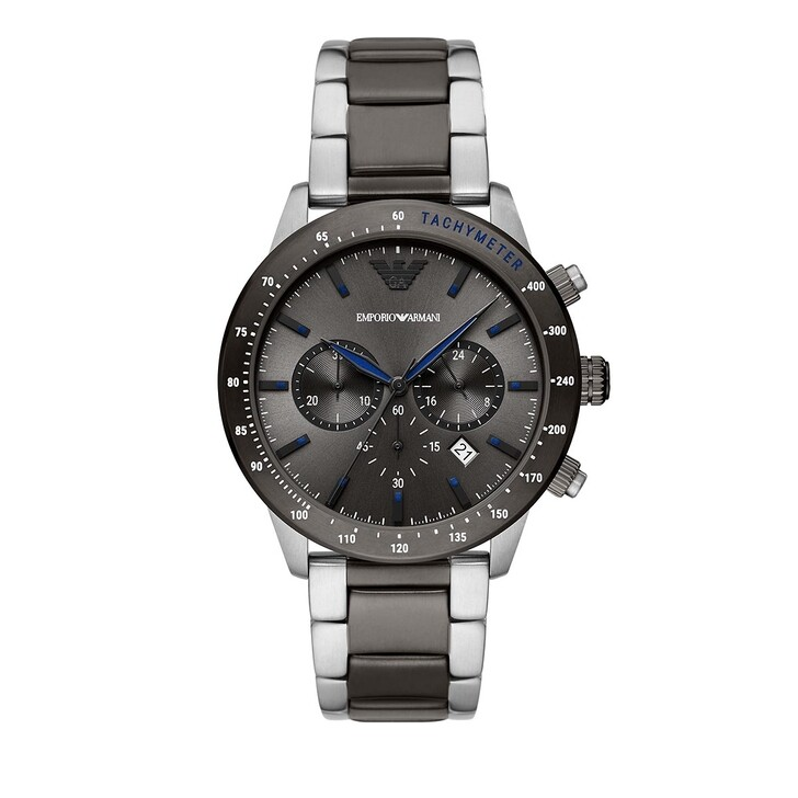 watches, Emporio Armani, Chronograph Stainless Steel Watch Multicolored/Silver