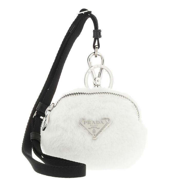 keyrings, Prada, Mini Zipped Pouch White