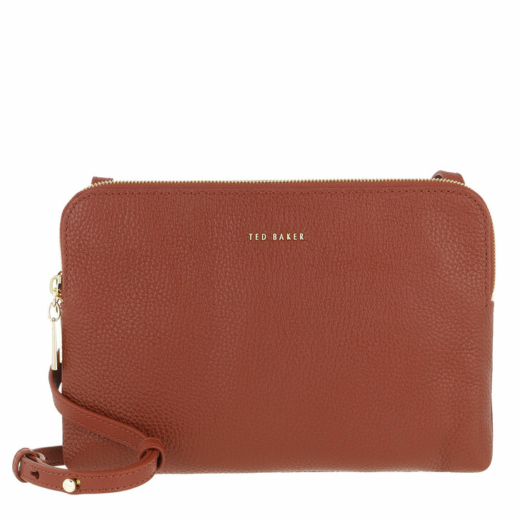 bags, Ted Baker, Soft Leather Double Pouch Crossbody Dark Tan