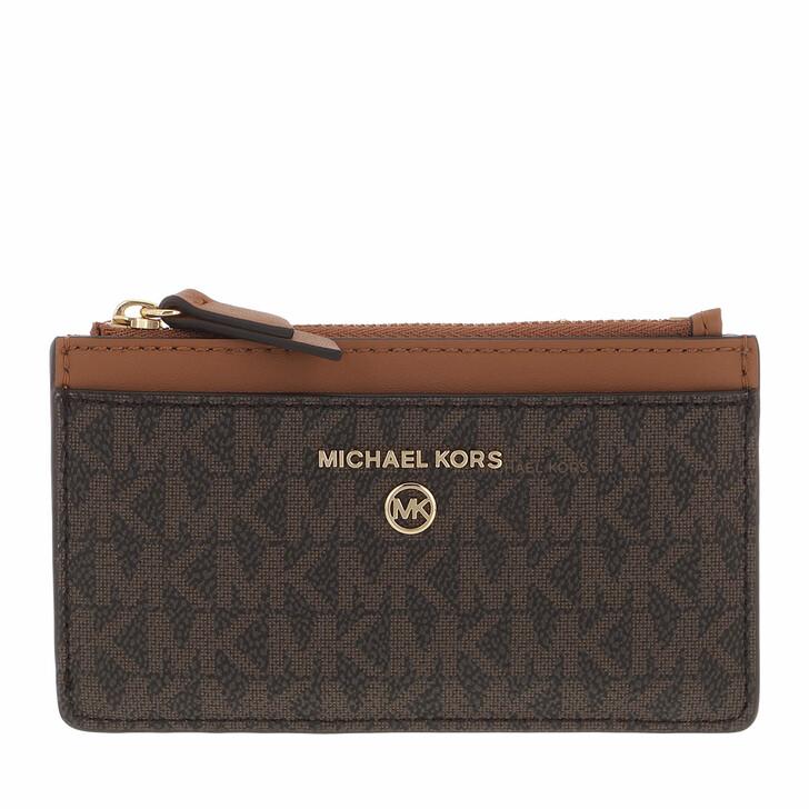 wallets, MICHAEL Michael Kors, Jet Set Charm Sm Slim Card Case Brown/Acorn