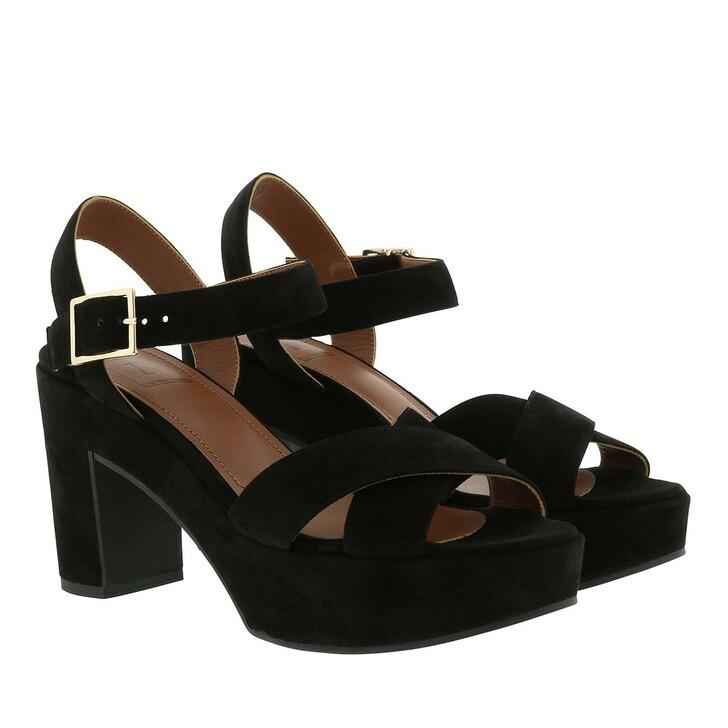 Schuh, L´Autre Chose, Suede Zappa Platform Sandal Black