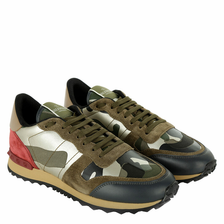 Schuh, Valentino, Camouflage Capsule Sneaker Army Green Platinum