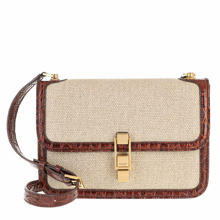 Handtasche, Saint Laurent, Carré Satchel Canvas Crocodile Embossed Leather Beige