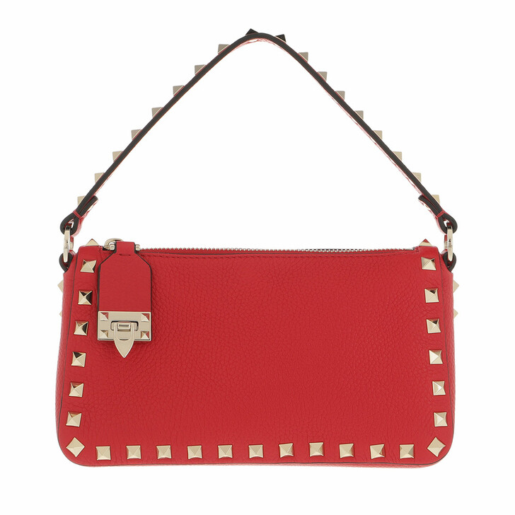 bags, Valentino Garavani, Small Rockstud Satchel Bag Leather Rouge