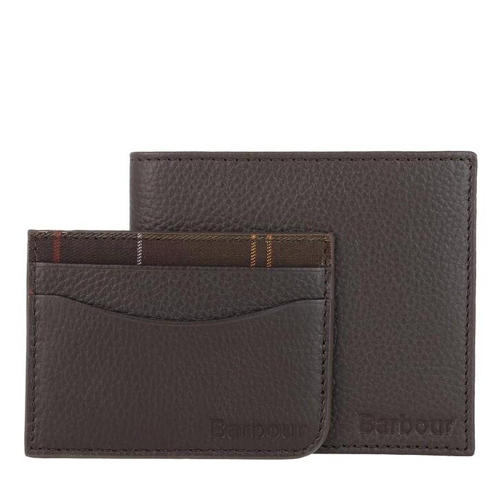 wallets, Barbour, Wallet Cardholder Giftset Dark Brown