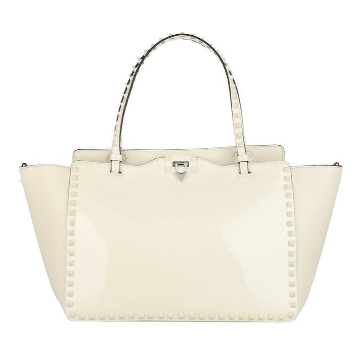 Handtasche, Valentino, Rockstud Medium Tote Bag Calfskin Light Ivory